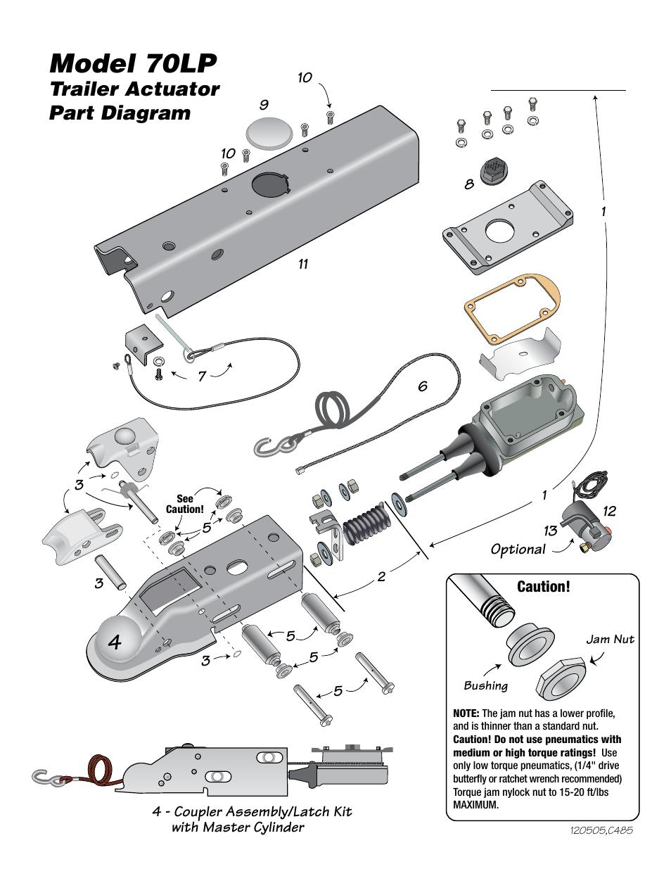 model 70lp  model 70lp actuator parts list  trailer