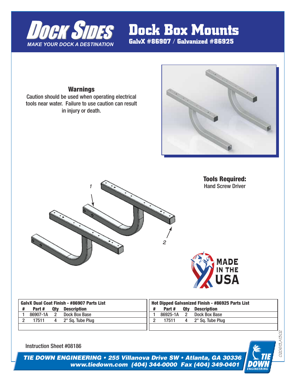 Tie Down Dock Box Mount User Manual | 2 pages