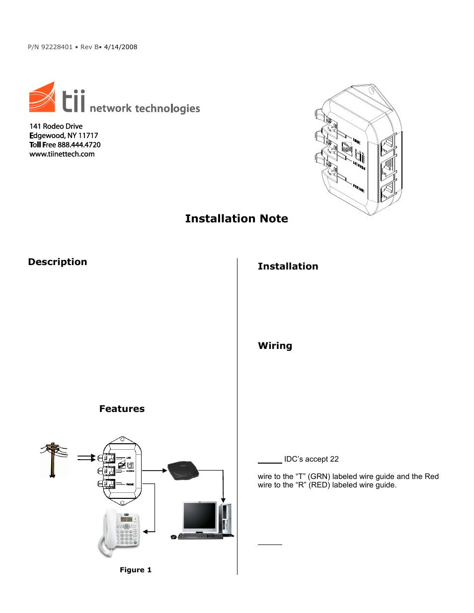Tii 80 410v 45 User Manual 1 Page Wiring Dsl Line