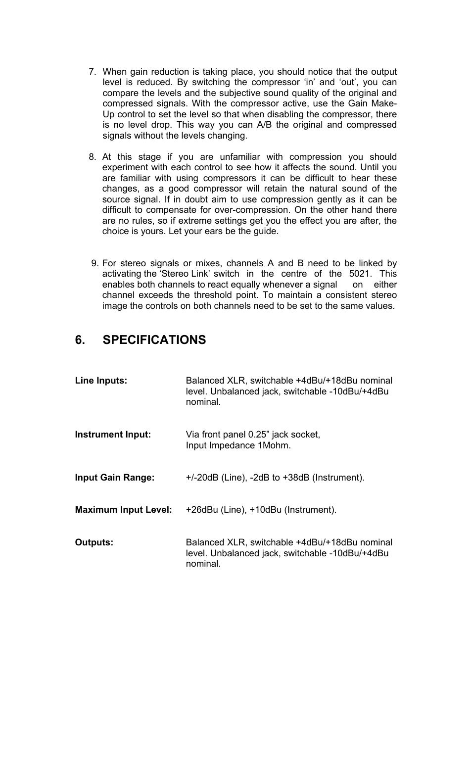 Specifications | TL Audio 5021 User Manual | Page 21 / 24