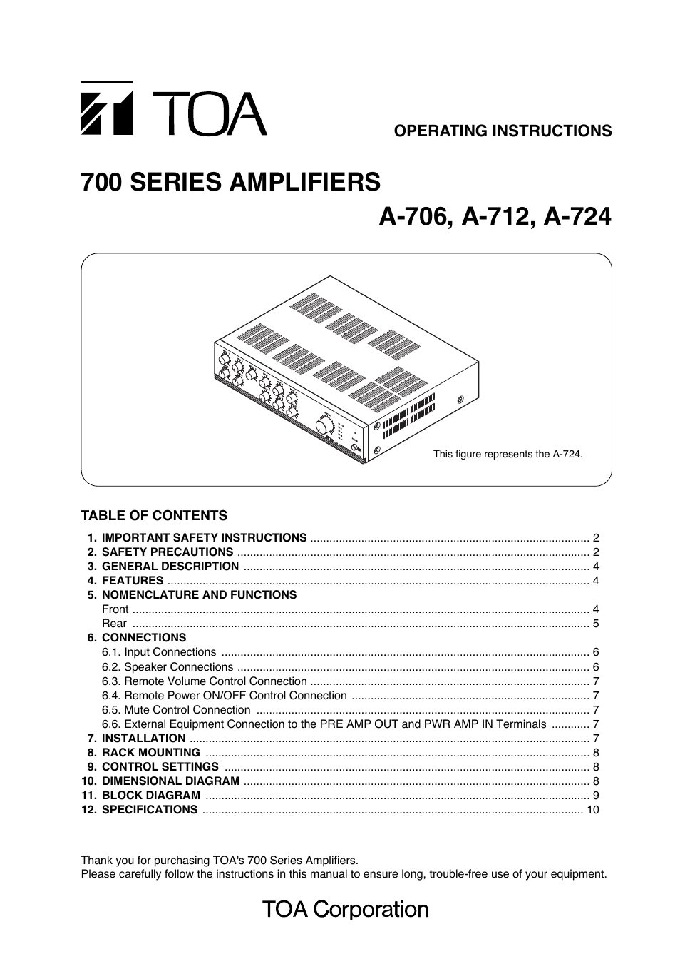 Toa A 724 User Manual 12 Pages Also For A 712 A 706