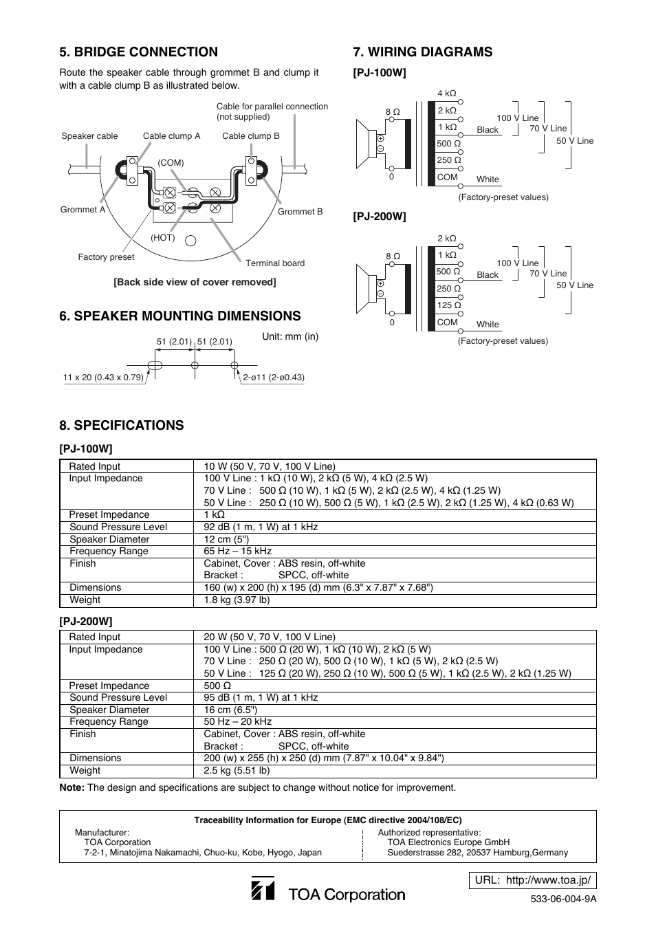 Specifications  Wiring Diagrams 5  Bridge Connection