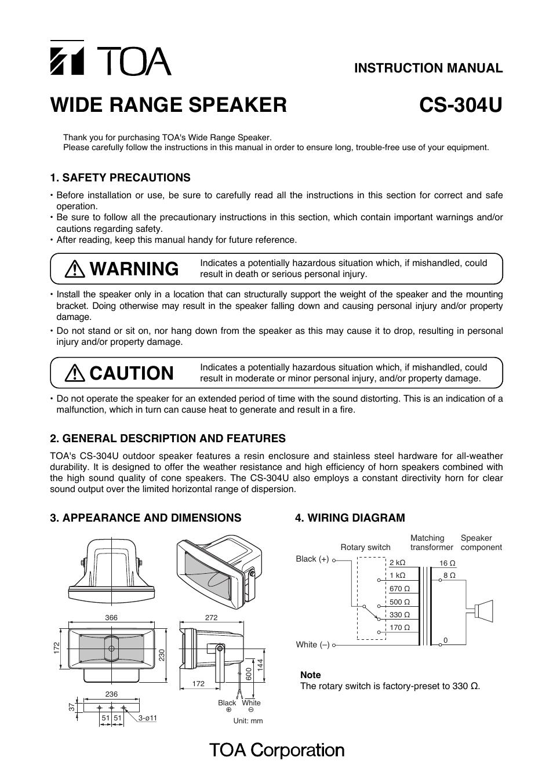 Toa Cs 304u User Manual 2 Pages High Efficiency Wiring Diagram
