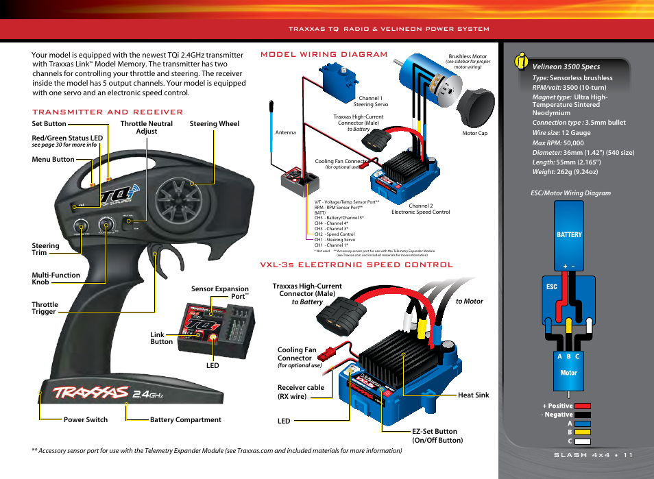 Model wiring diagram, Vxl-3s electronic speed control, Transmitter and  receiver | Traxxas 68086-1 User Manual | Page 11 / 34Manuals Directory
