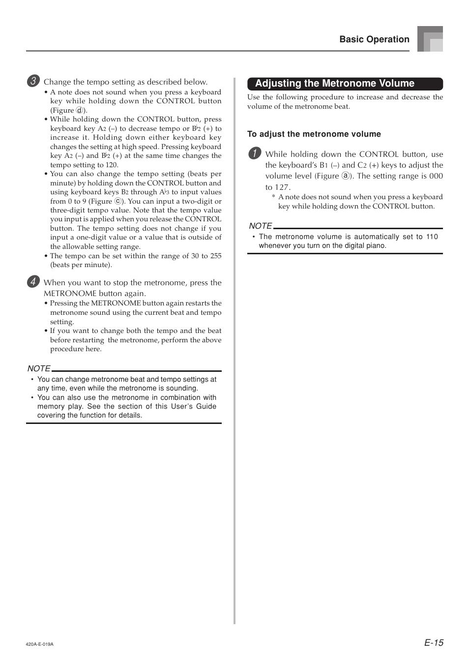 Adjusting the metronome volume | Casio AP-24 User Manual | Page 19 / 36