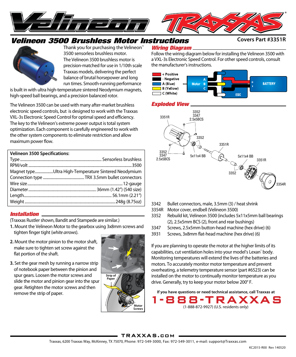 Traxxas 3351R User Manual | 4 pages