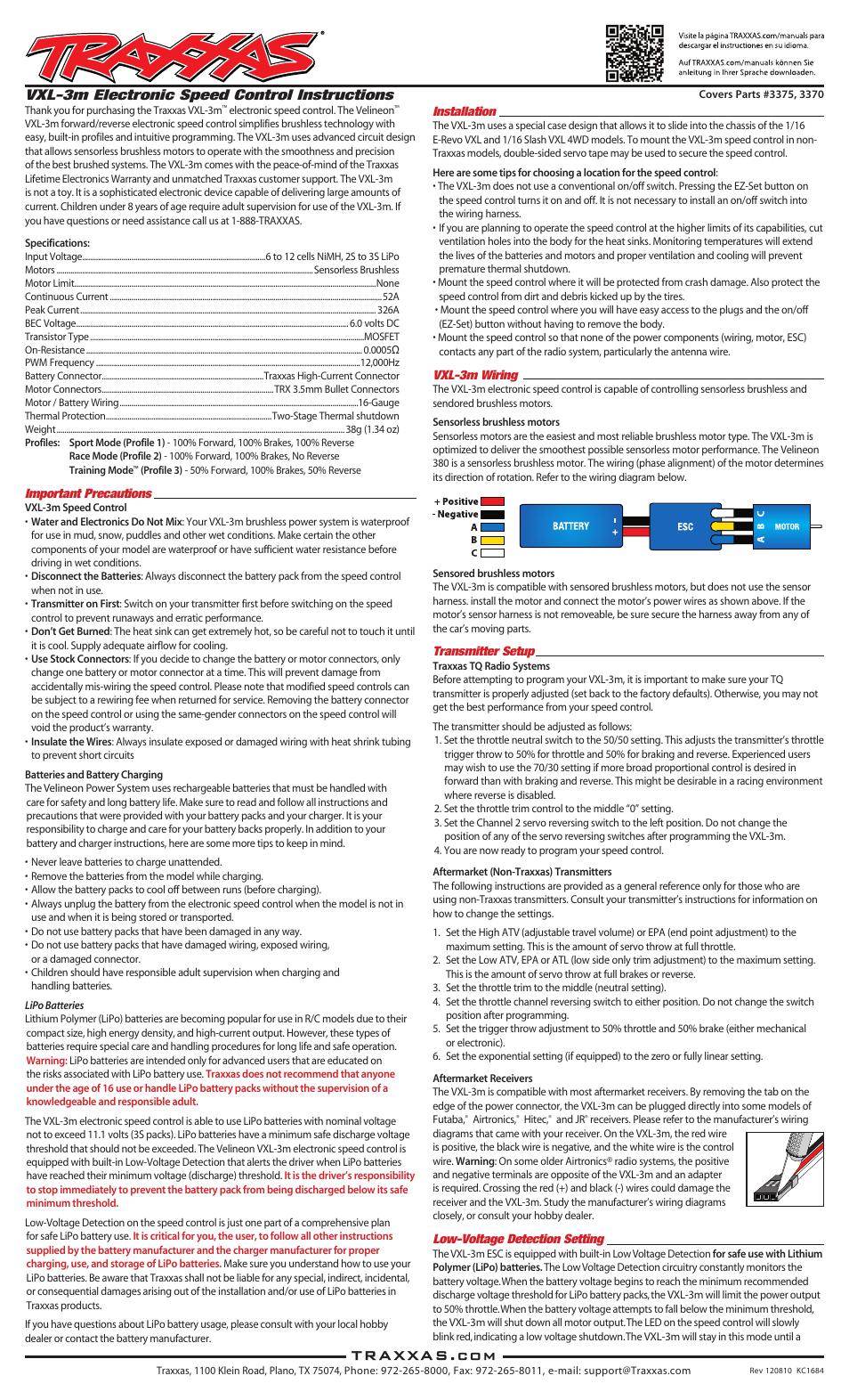 Traxxas 3370 VXL-3m ESC User Manual | 8 pages | Also for: 3375 VXL-3m ESC