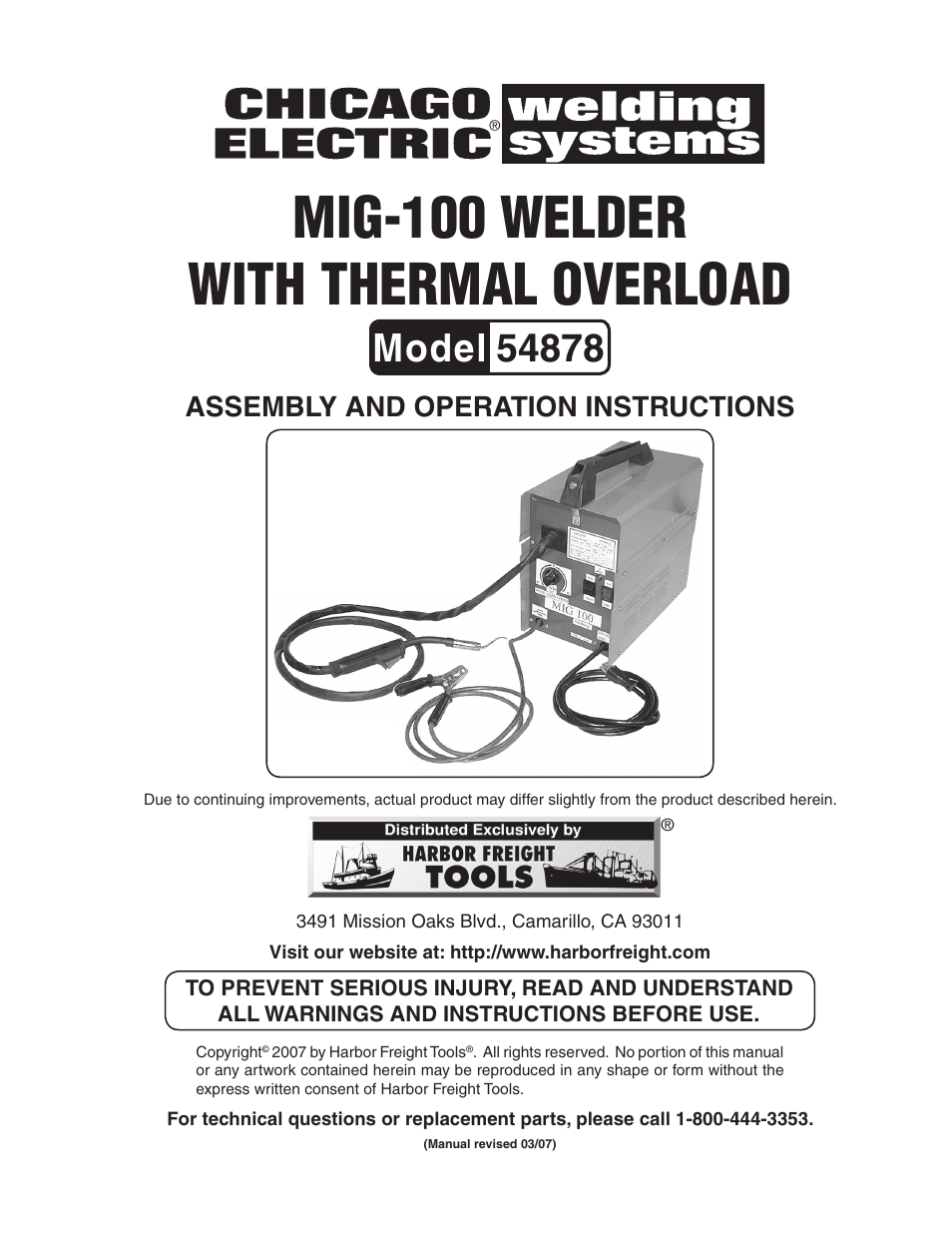 Chicago Electric Mig 100 Welder 54878 User Manual 14 Pages
