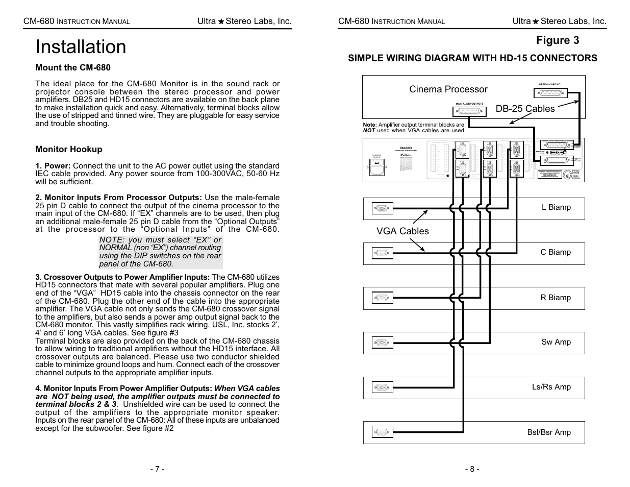 Installation, Figure 3, Simple wiring diagram with hd-15 connectors | USL  CM-680 User Manual | Page 9 / 16