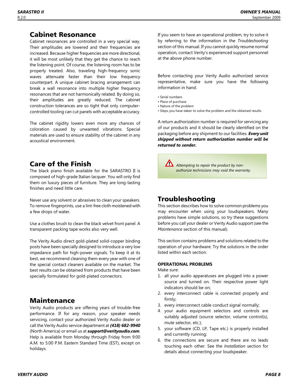 Cabinet resonance, Care of the finish, Maintenance | Verity