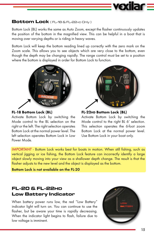 Bottom Lock Fl 20 22 Low Battery Indicator Vexilar User Manual Page 15 52