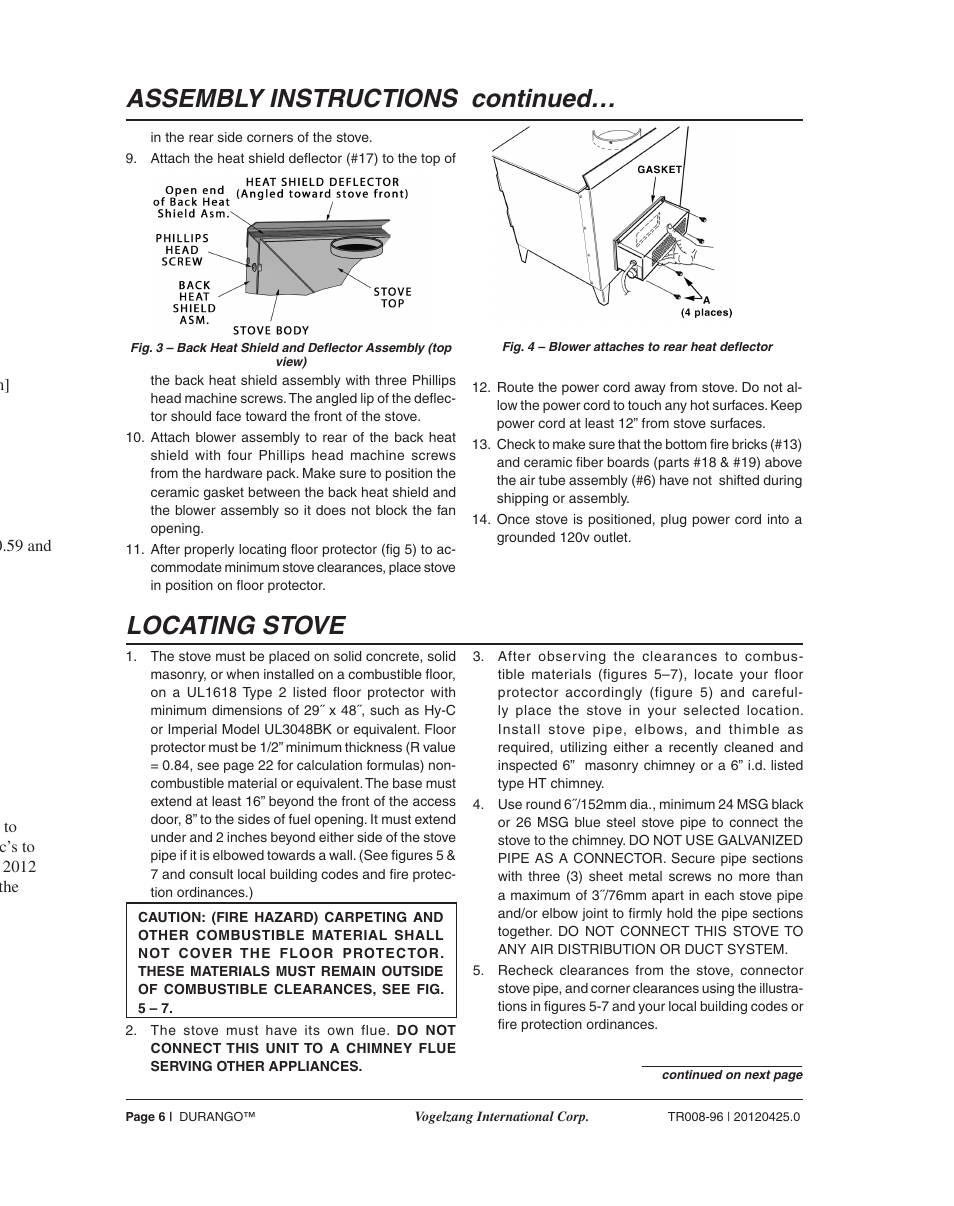 Locating Stove Assembly Instructions Continued