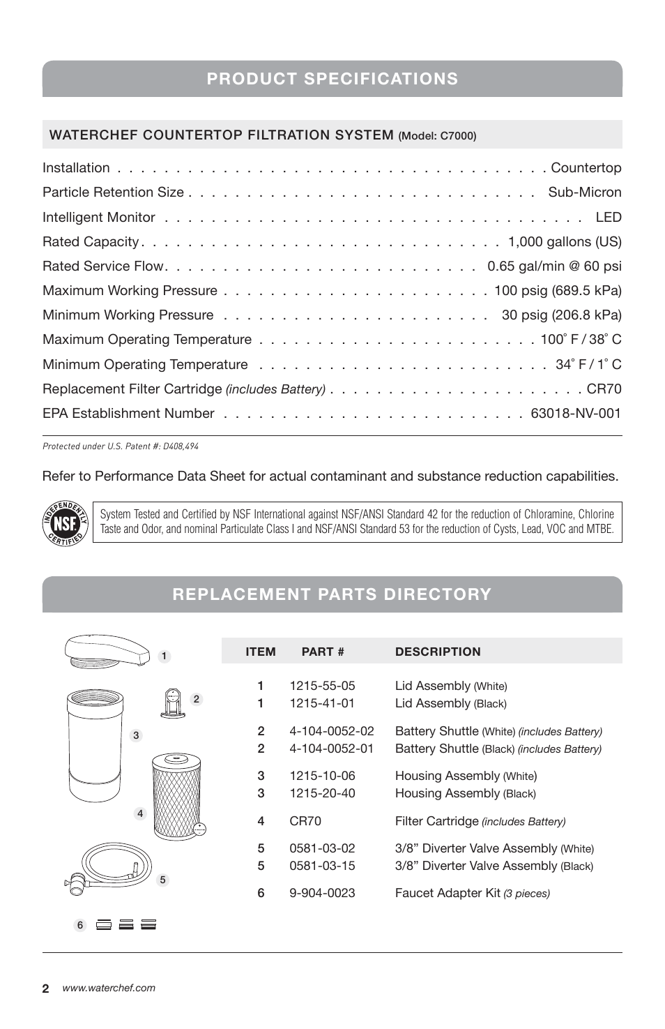 Product specifications, Replacement parts directory | WaterChef