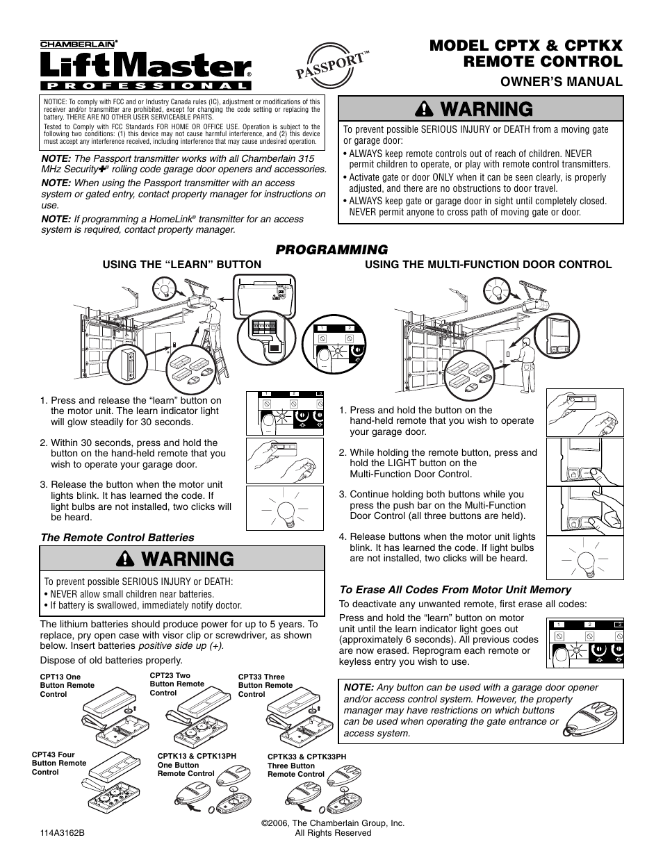 Chamberlain Cptx User Manual 1 Page Also For Cptk33