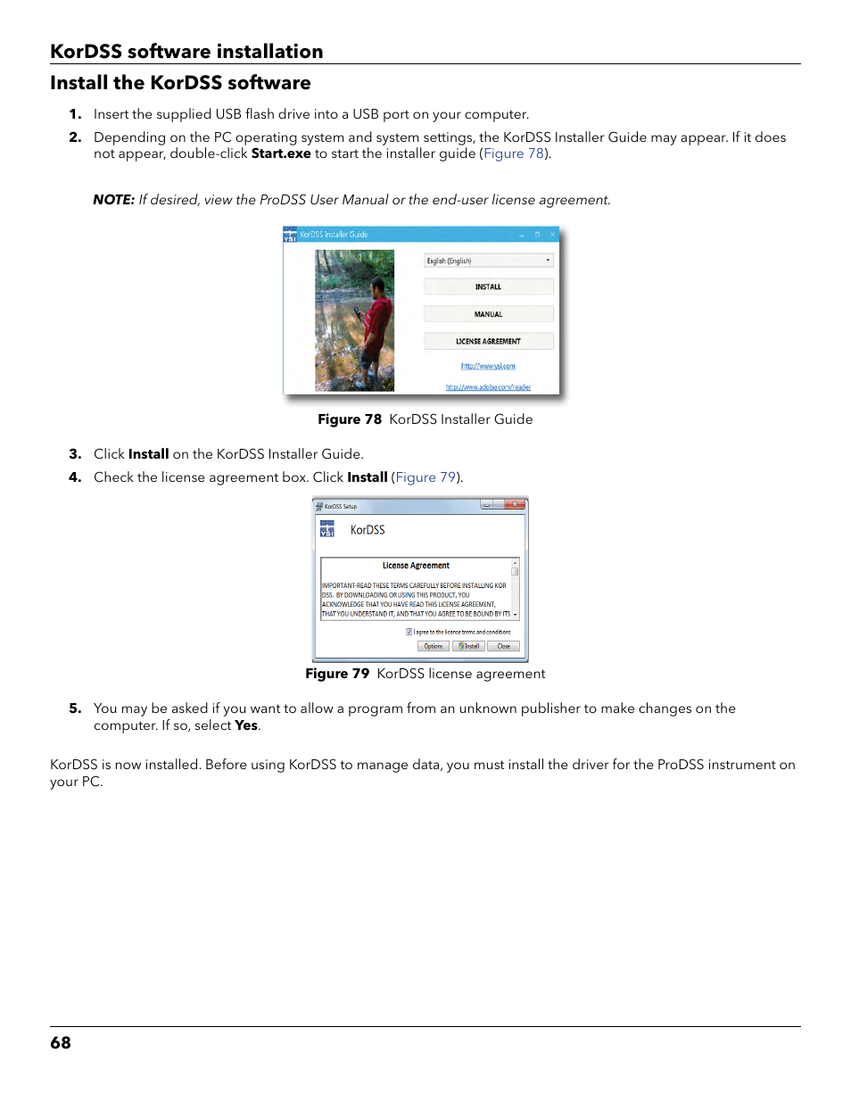 Install the kordss software | YSI ProDSS User Manual | Page 70 / 90