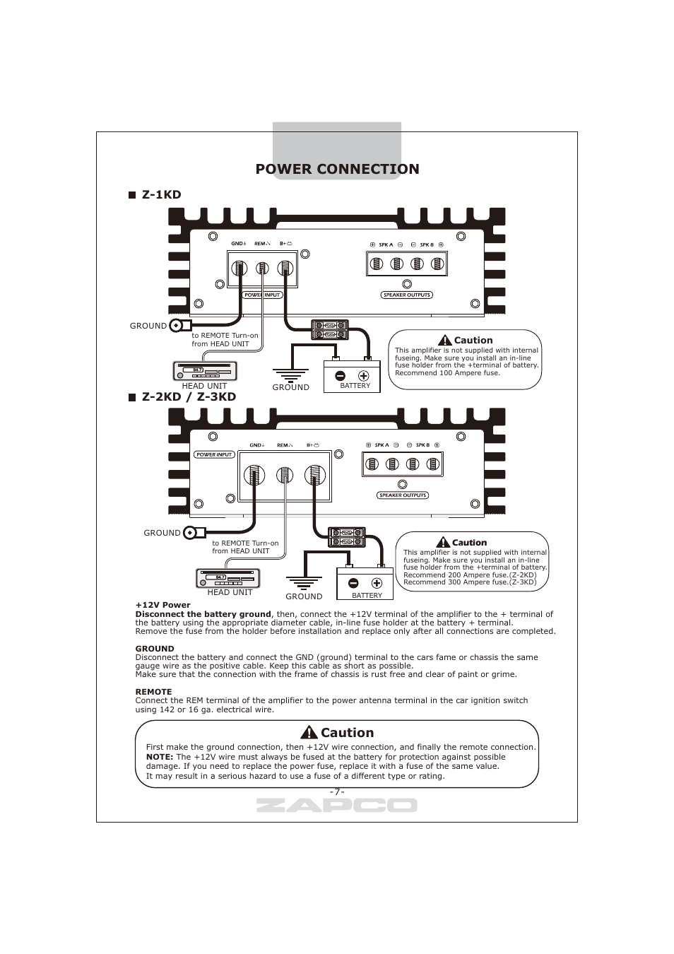 Power Connection Caution Z 1kd 2kd 3kd Zapco Series D Gauge Translucent Ground Wire Amplifier Installation User Manual Page 8 12