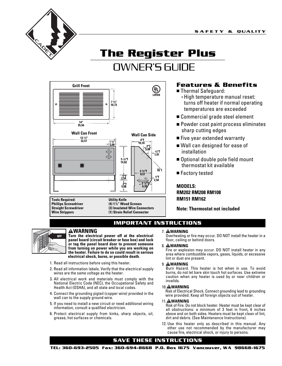 Cadet The Register Plus Rm108 User Manual 8 Pages Also
