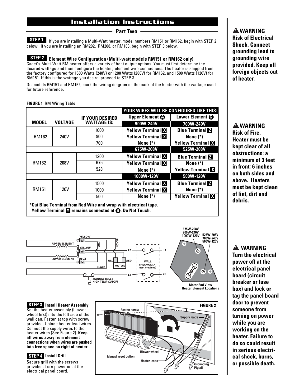Rm162 Cadet Heater Wiring Diagram Block And Schematic Diagrams Thermostat Installation Instructions The Register Plus Rm108 User Rh Manualsdir Com Baseboard Heaters In Parallel
