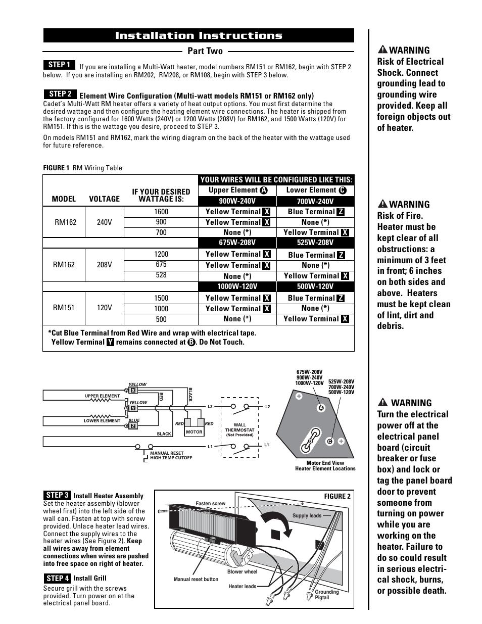 installation instructions cadet the register plus rm108 cub cadet 149 wiring diagram cadet heater wiring diagram