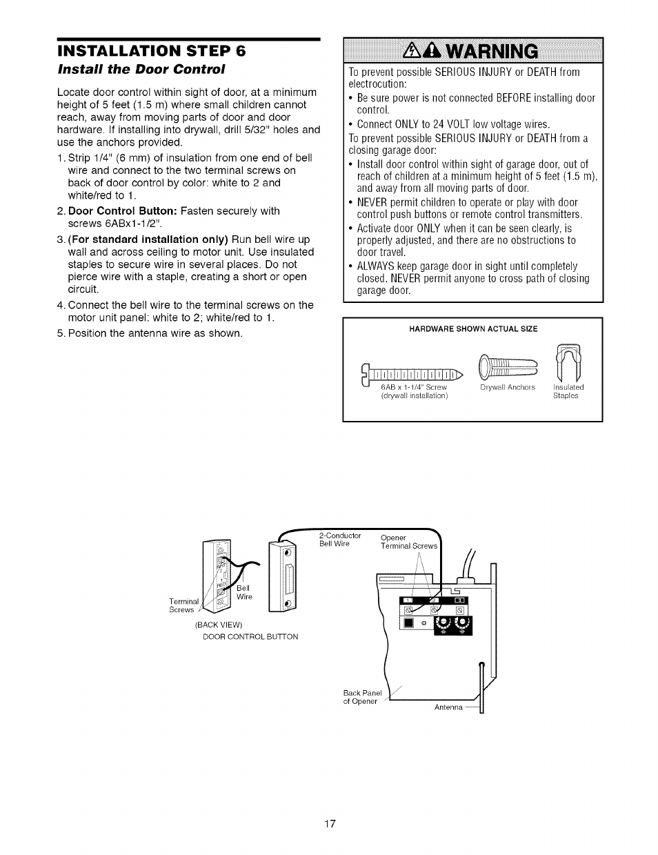 Installation Step 6 Install The Door Control Warning