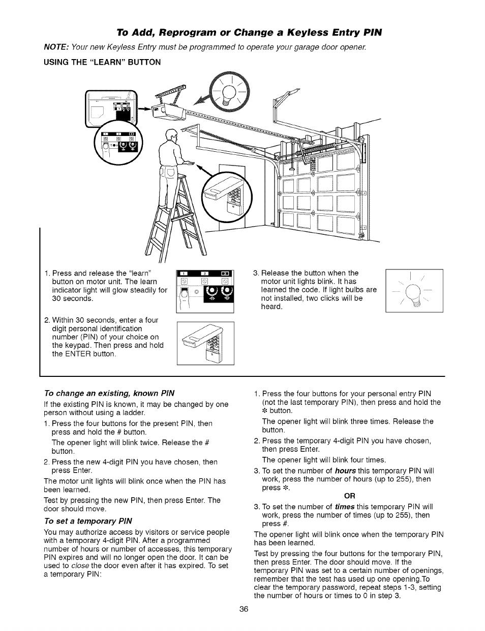 To Add Reprogram Or Change A Keyless Entry Pin Craftsman 1 2 Hp Garage Door Opener Model 139 5364812 User Manual Page 36 40