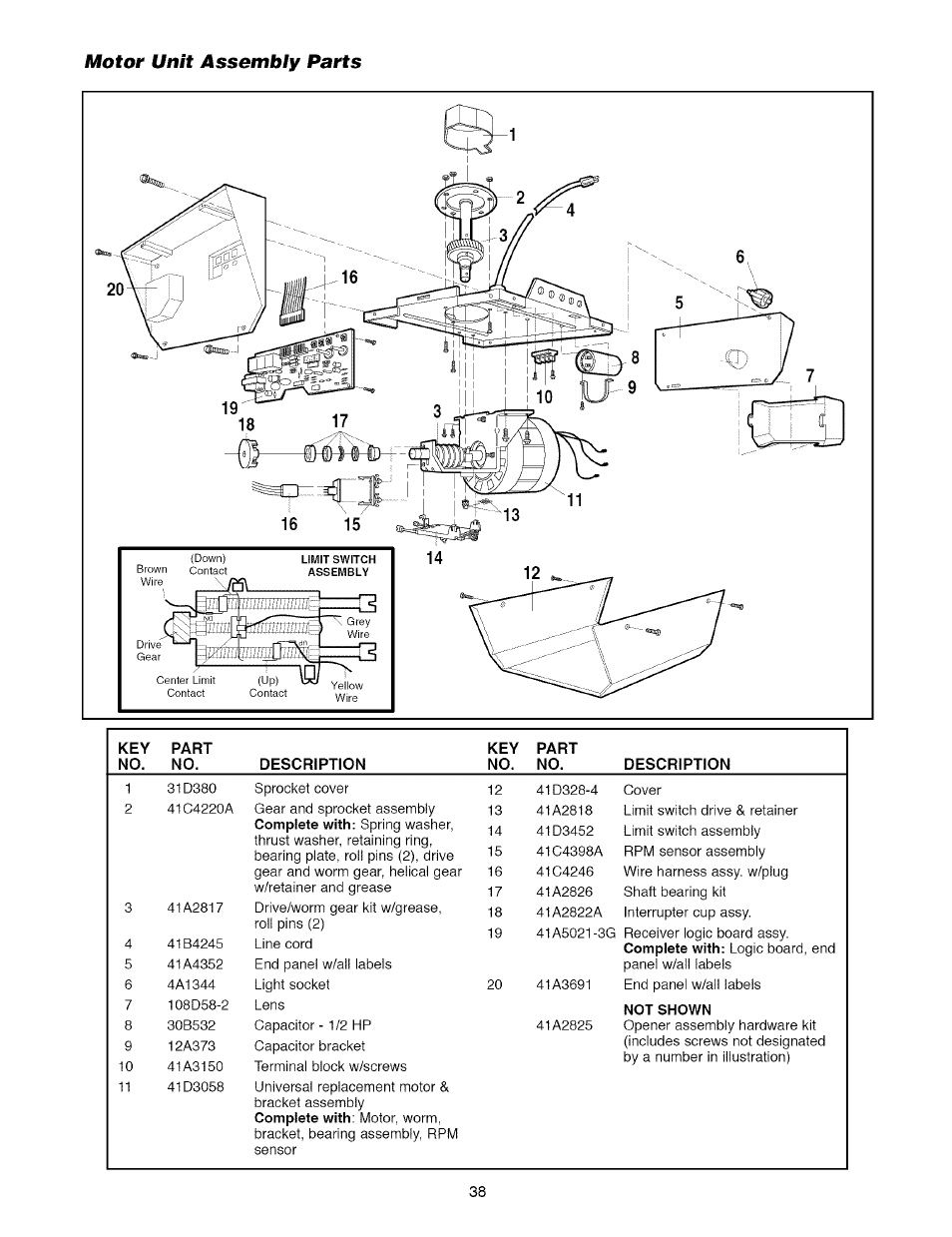 Craftsman Garage Door Opener Motor Unit Assembly Parts Manual Guide