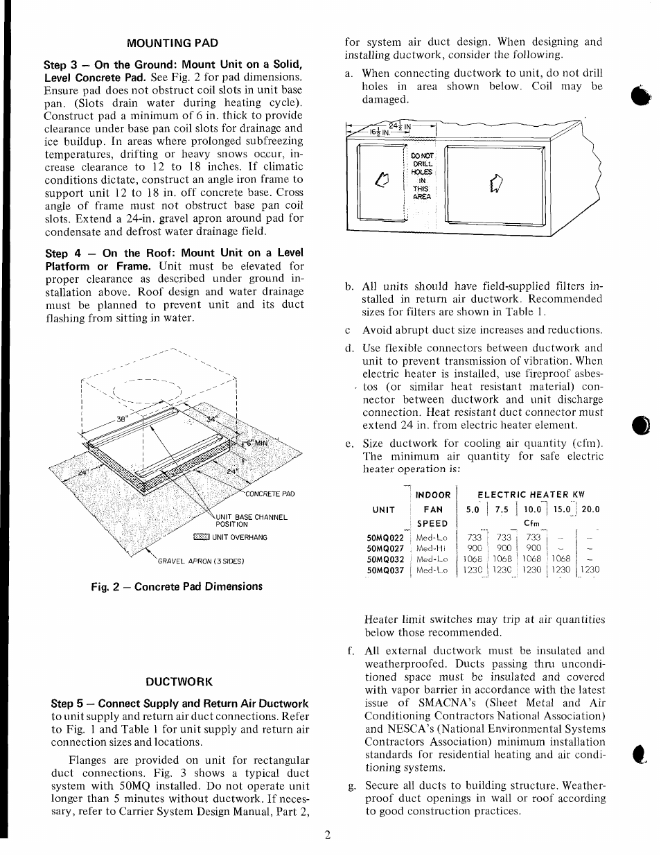 Mounting pad, Ductwork, Step 5 — connect supply and return air ductwork    Carrier