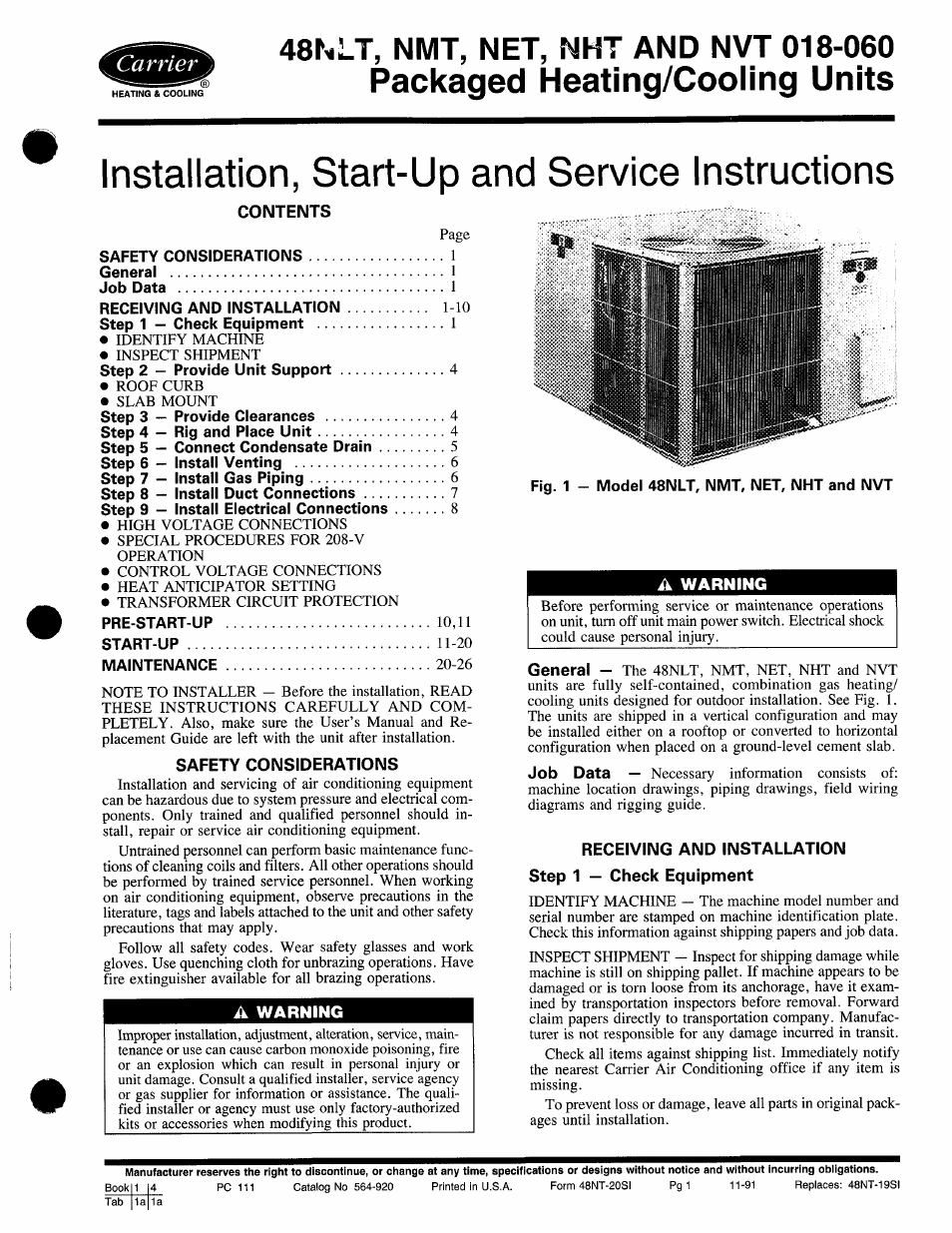 carrier 48nlt user manual 27 pages also for 48nmt 48nht 48net