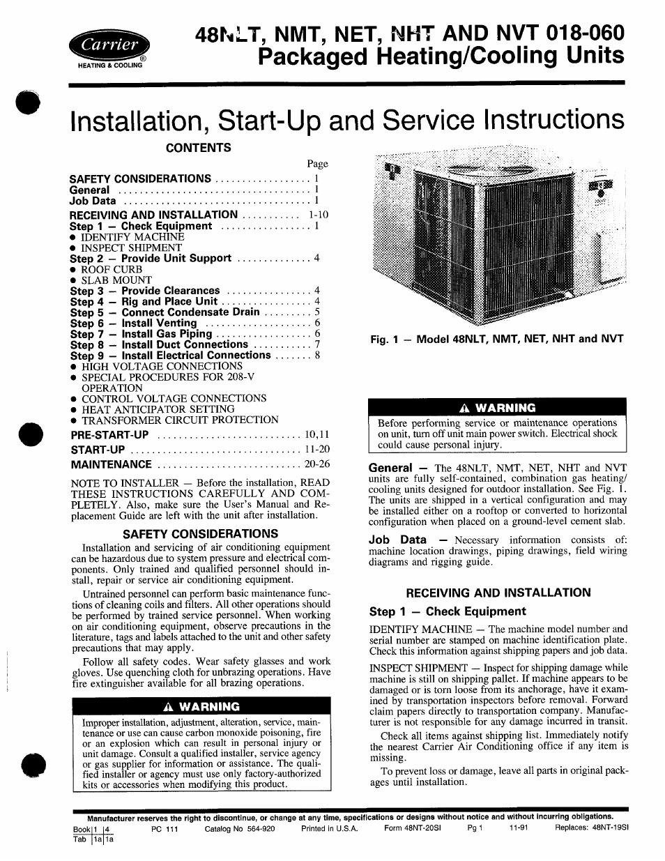 Carrier 48nlt User Manual
