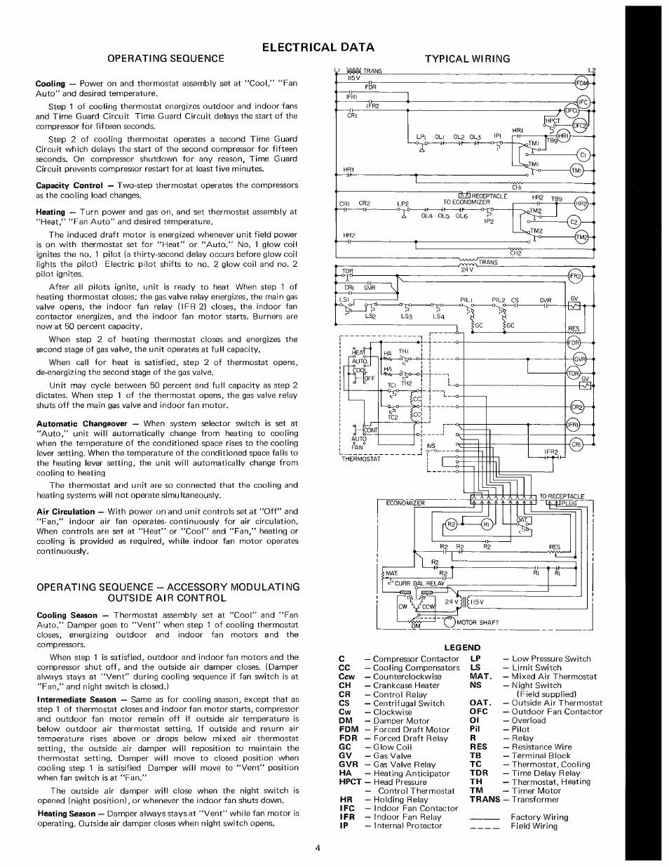 Electrical Data  Operating Sequence Typical Wiring Cooling