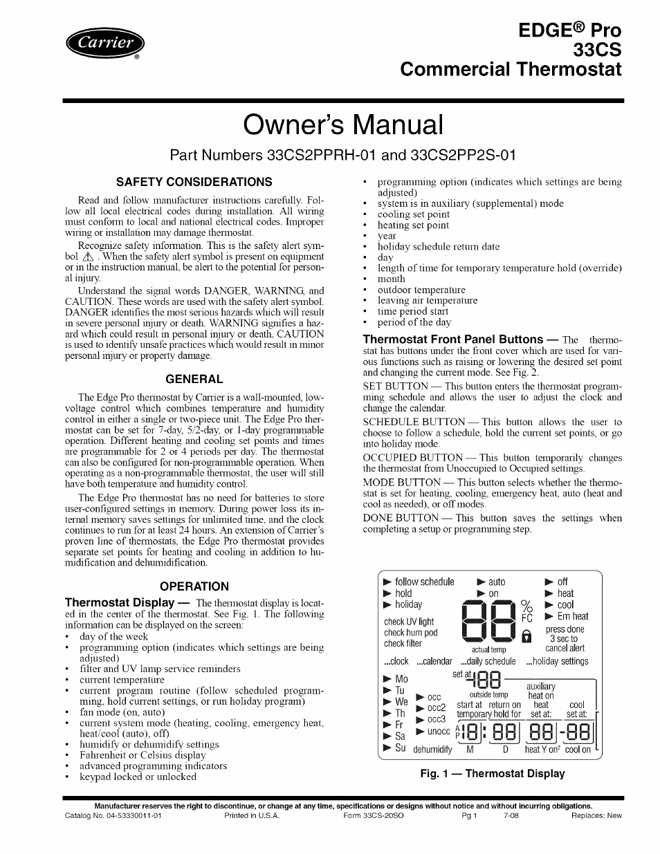 carrier edge pro 33cs user manual 7 pages rh manualsdir com carrier edge thermostat troubleshooting carrier edge thermostat service manual