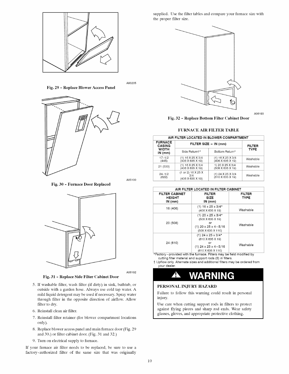 Warning, Furnace air filter table, Personal injury hazard | Carrier  INFINITY ICS 58MVC User Manual | Page 10 / 14