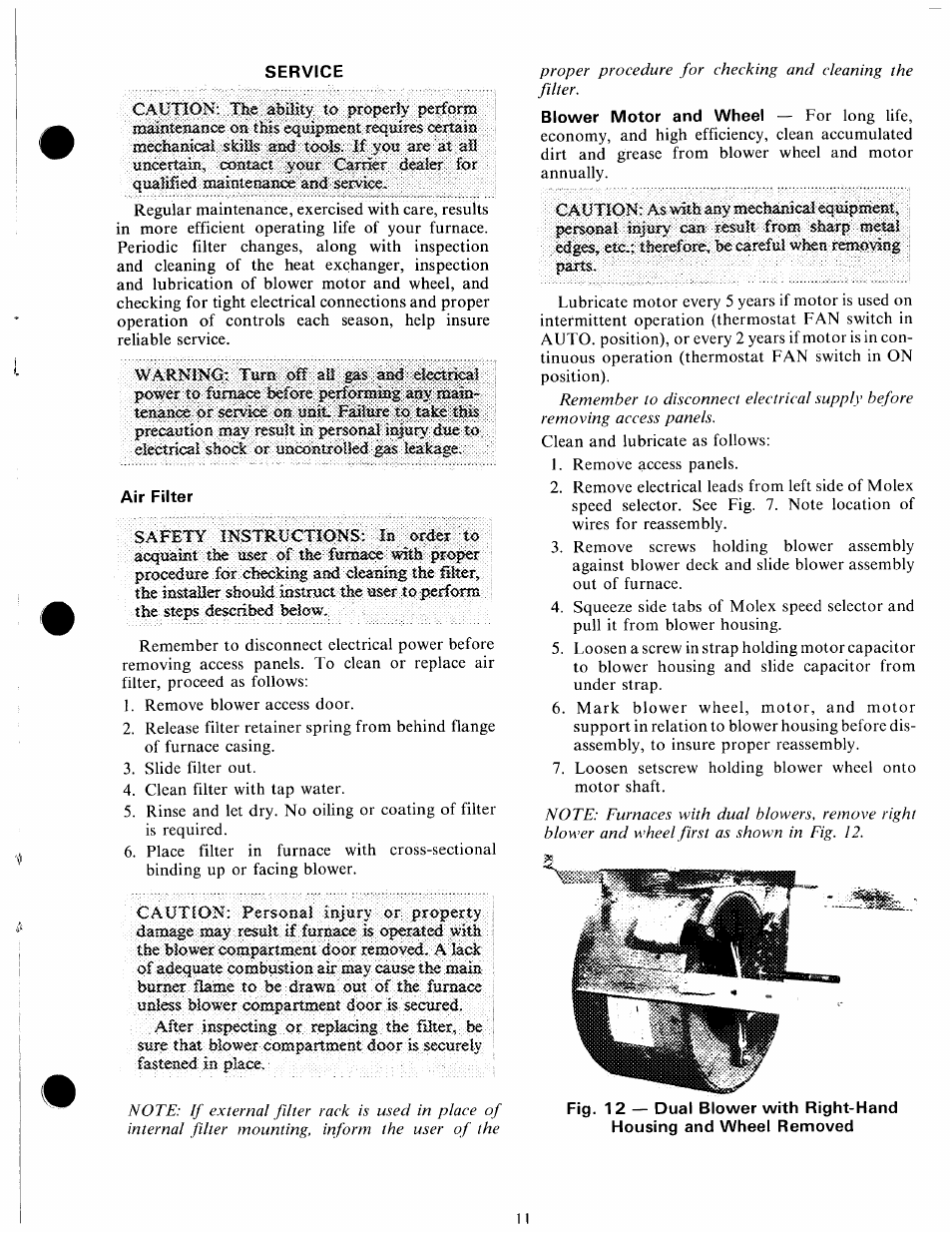 Service, Air filter | Carrier 58GS User Manual | Page 11 / 15