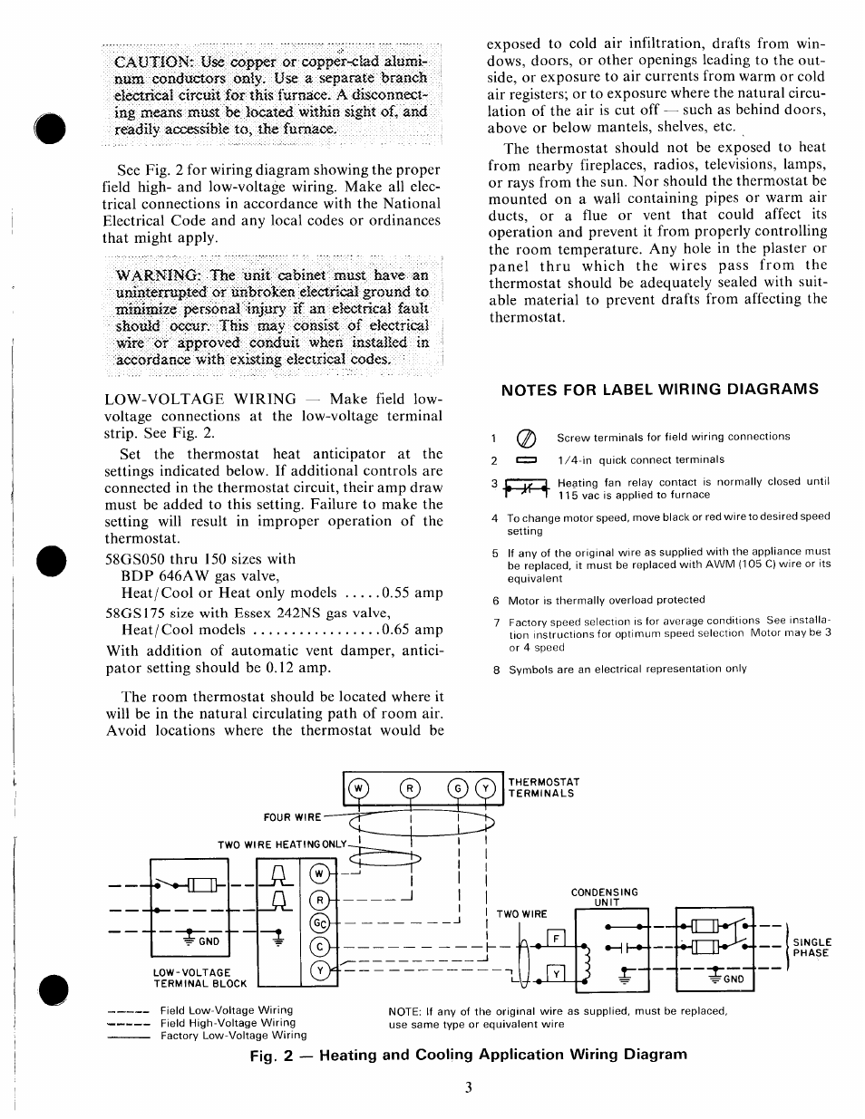 carrier 58gs page3 notes for label wiring diagrams carrier 58gs user manual page carrier gas furnace wiring diagrams at bakdesigns.co