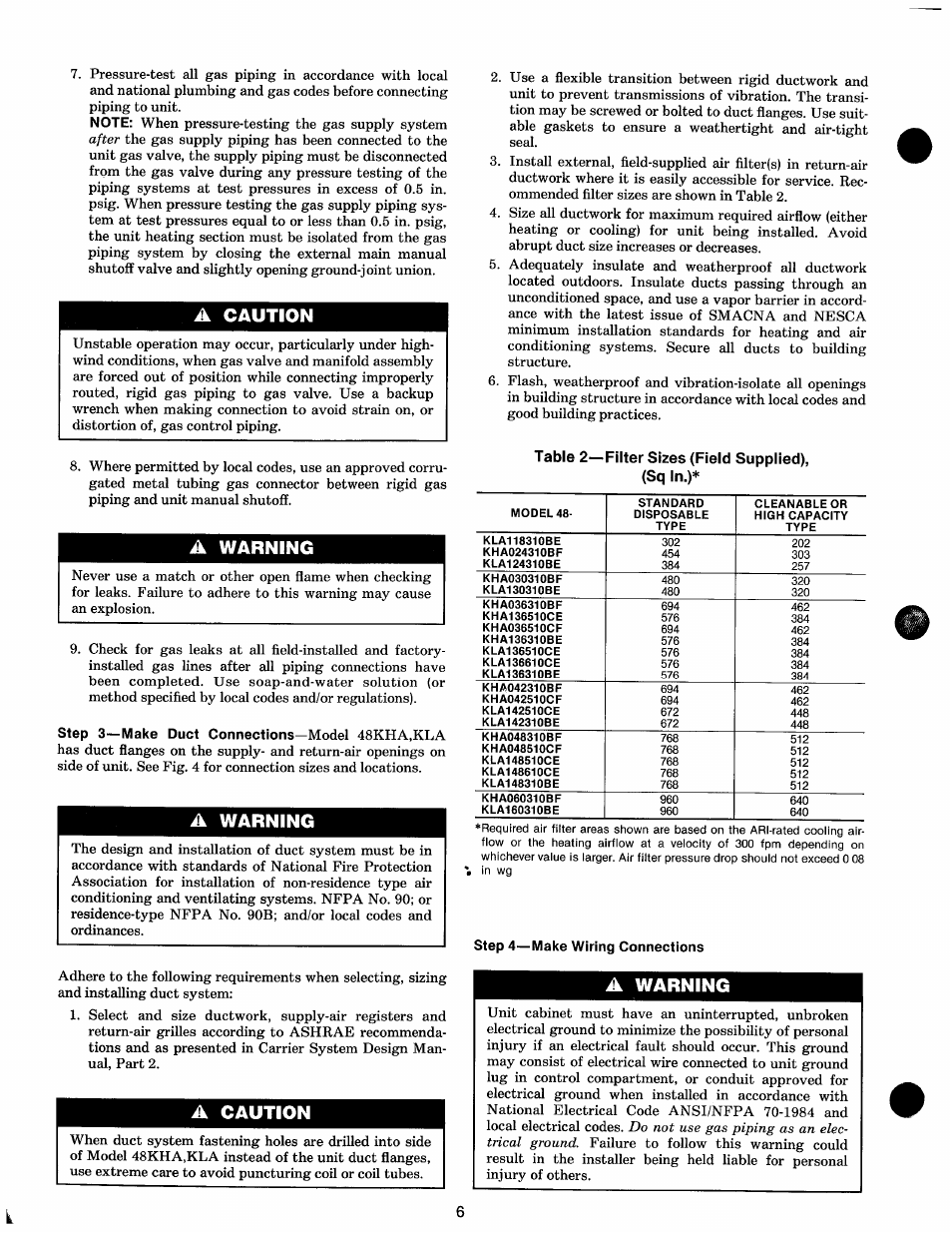 A caution, A warning, Step 4—make wiring connections   Carrier 48KHA User  Manual   Page 6 / 22