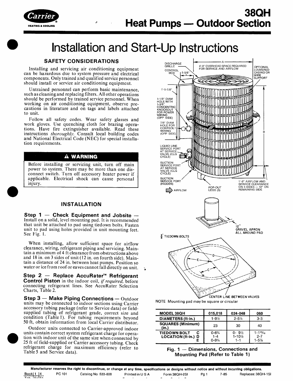 Carrier 38qh User Manual