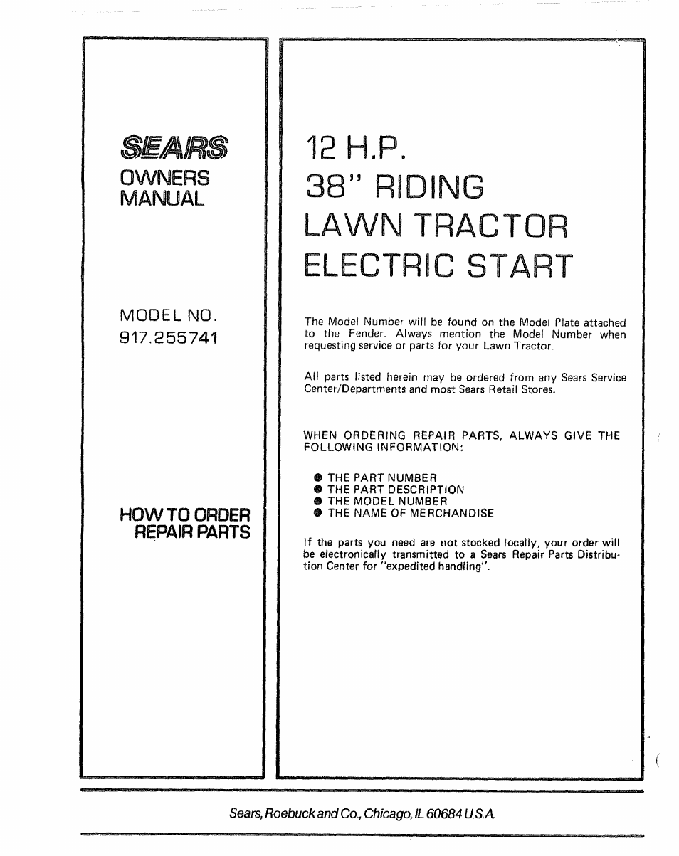 """12 h.p. 38"""" riding lawn tractor electric start 