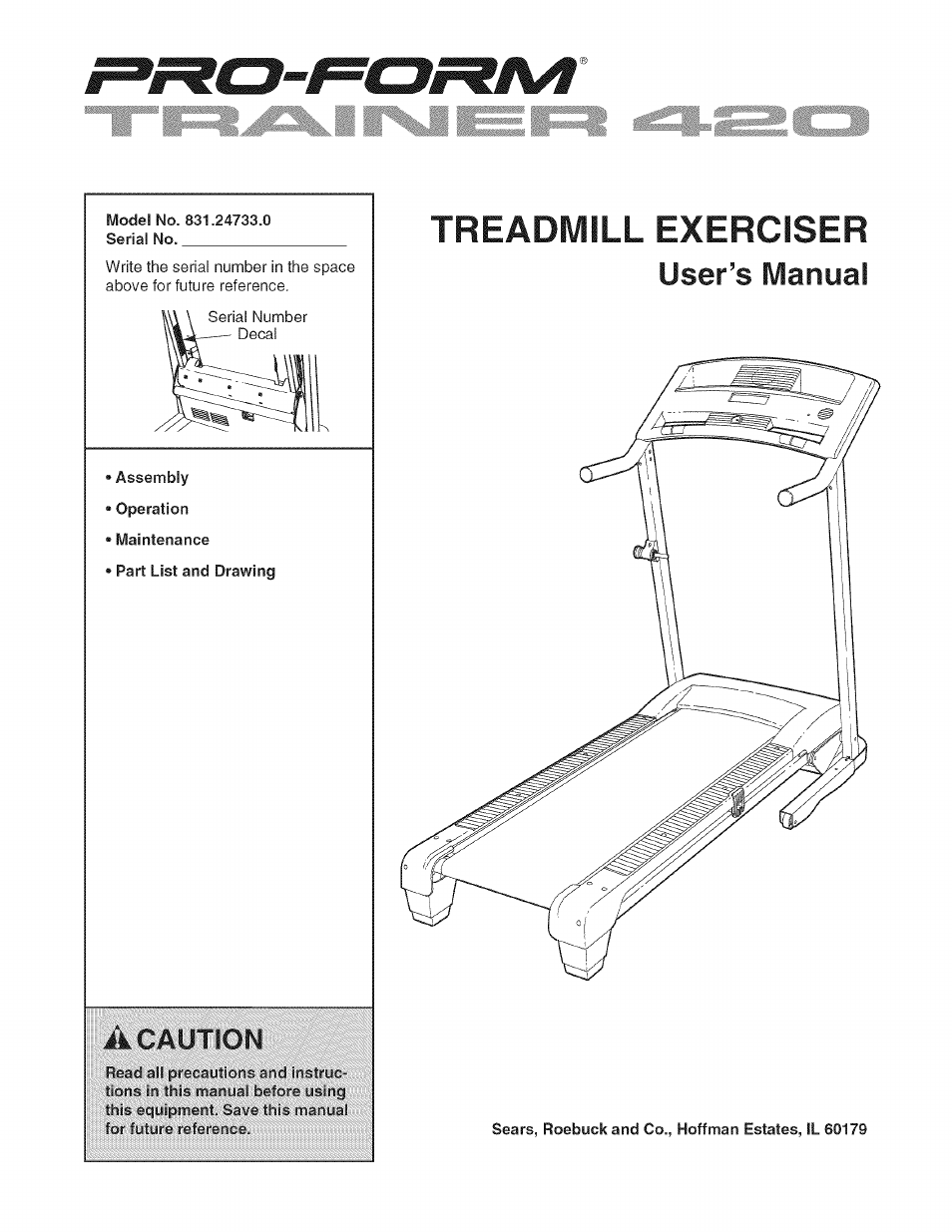 Sears PRO-FORM 831 24733 0 User Manual | 28 pages
