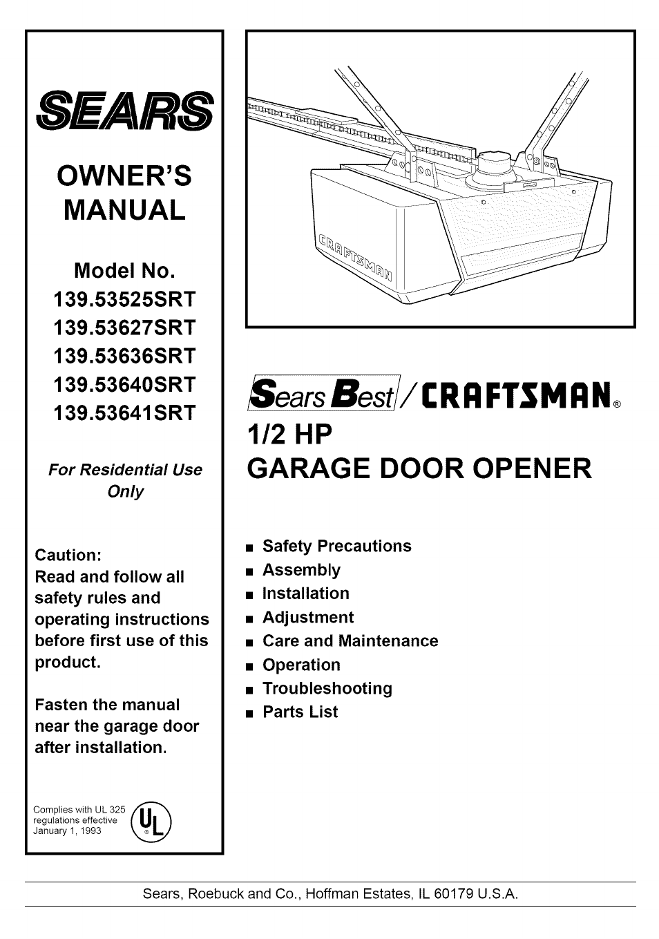 Sears Craftsman 139 53640srt User Manual 40 Pages Also
