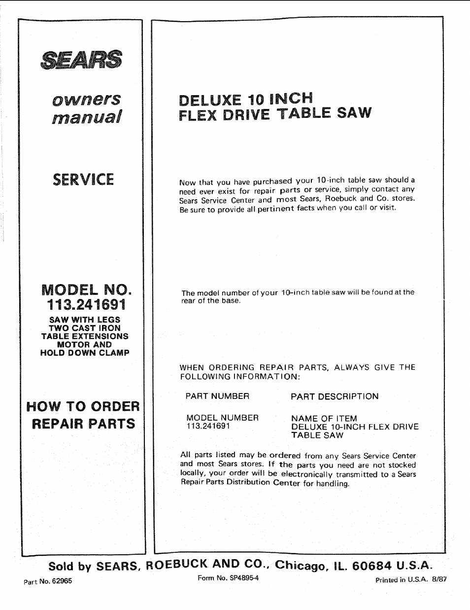 113.241691, Deluxe 10 inch, Owners manual | Sears 113.241591 User Manual |  Page 52 / 52