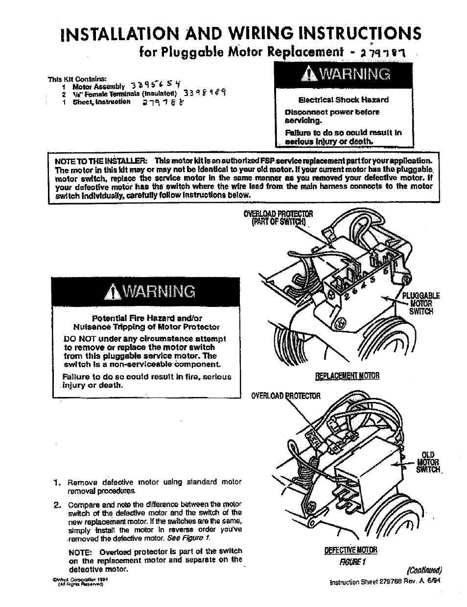 Installation and wiring instructions, For pluggable motor ...