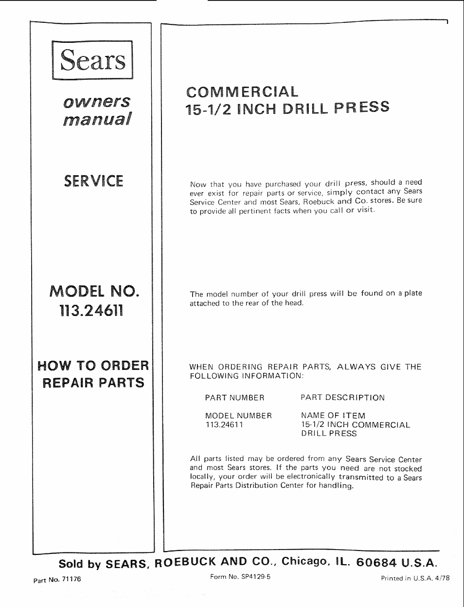 Sears, Commercial, 1/2 inch drill press | Sears 113.24611 User Manual |  Page 24 / 24