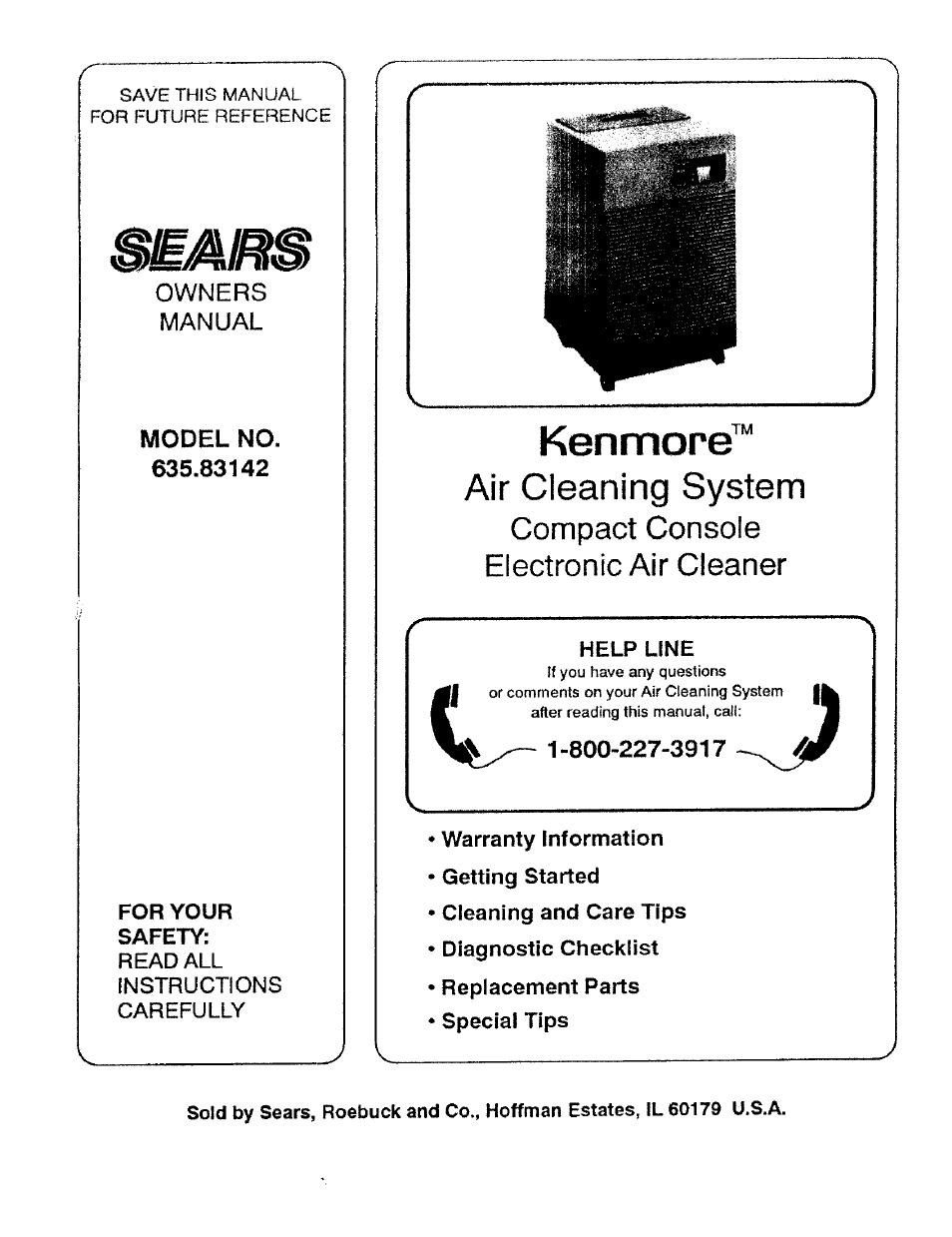 sears kenmore 635 83142 user manual 8 pages rh manualsdir com Kenmore HEPA Air Filter Replacement Kenmore HEPA Air Filter Replacement