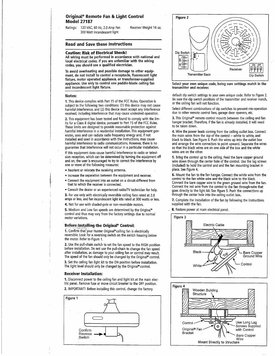 Hunter 27187 Original Fan Light Control User Manual 2 Pages Ceiling Installation