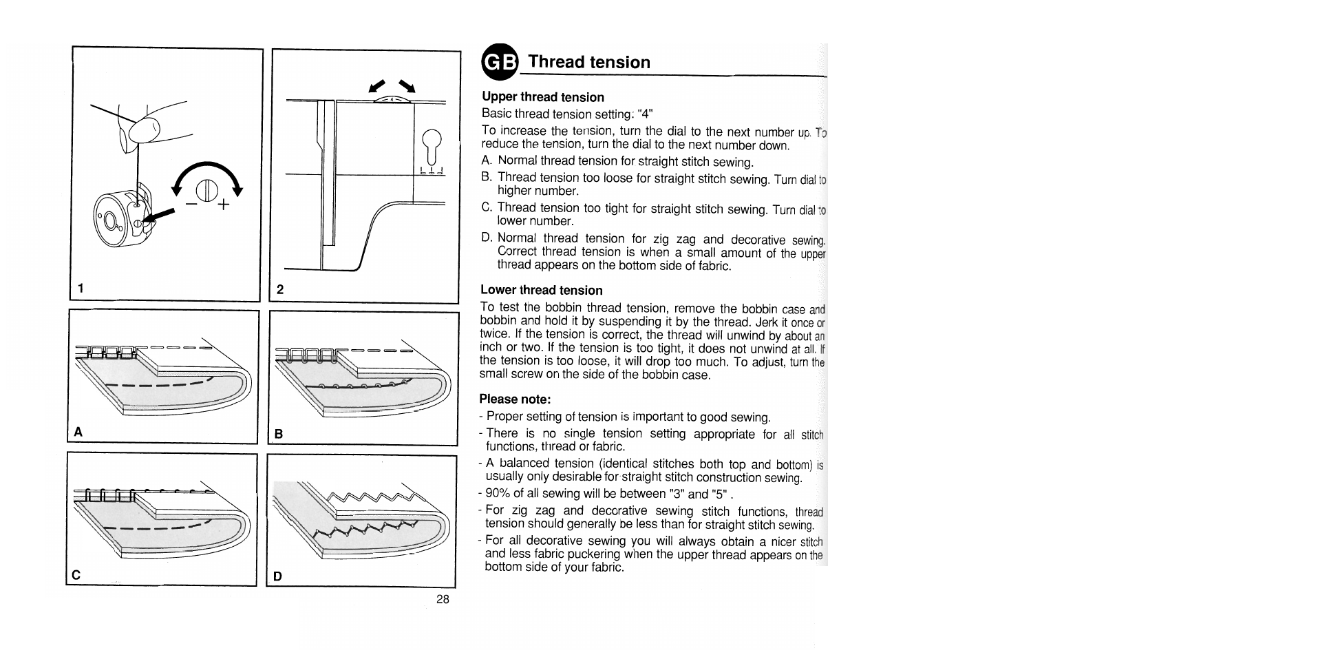 Thread tension, Upper thread tension, Lower thread tension   SINGER 1725  User Manual   Page 36 / 84