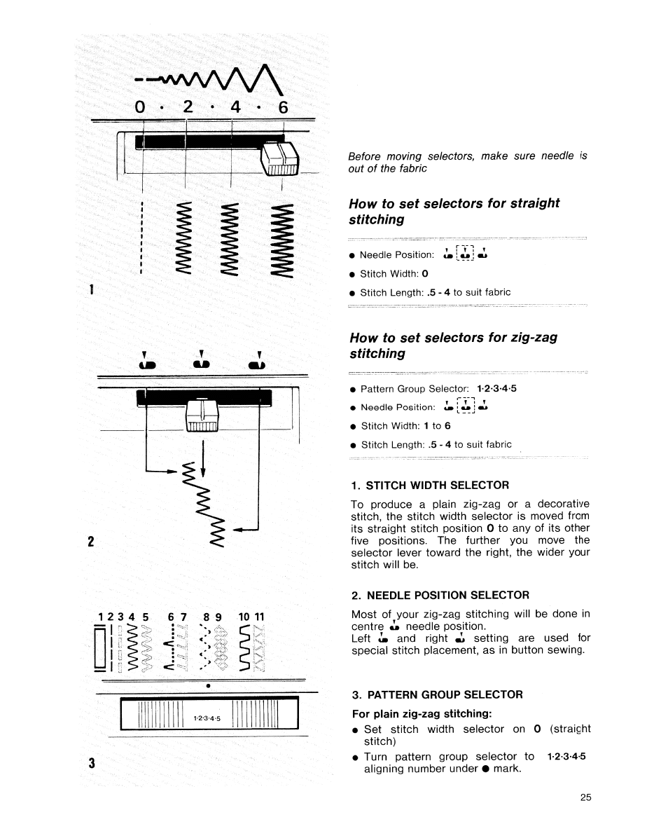 How to set selectors for straight stitching, How to set selectors for  zig-zag stitching, Stitch width selector | SINGER 9614 User Manual | Page  27 / 76