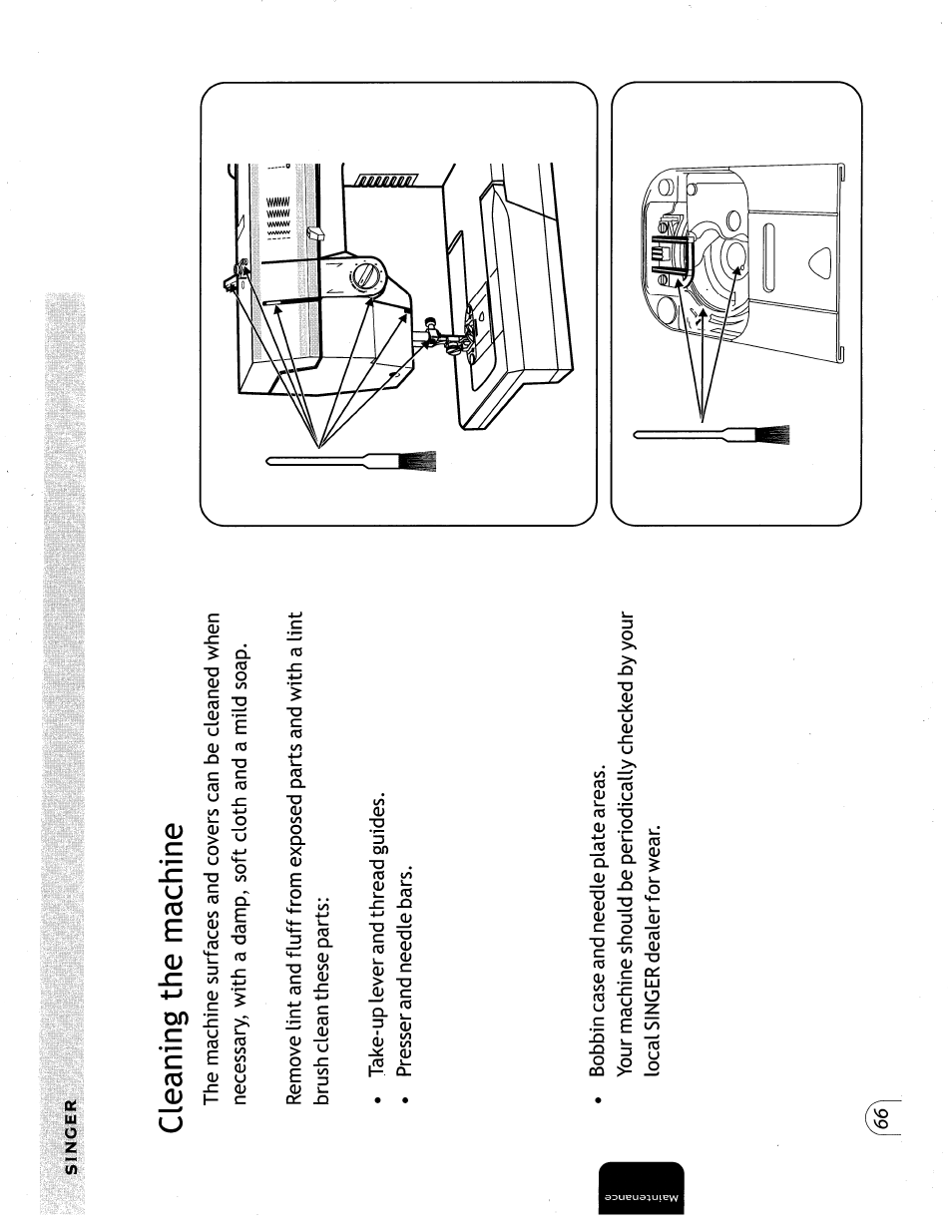 Cleaning the machine | SINGER 57815 User Manual | Page 68 / 84