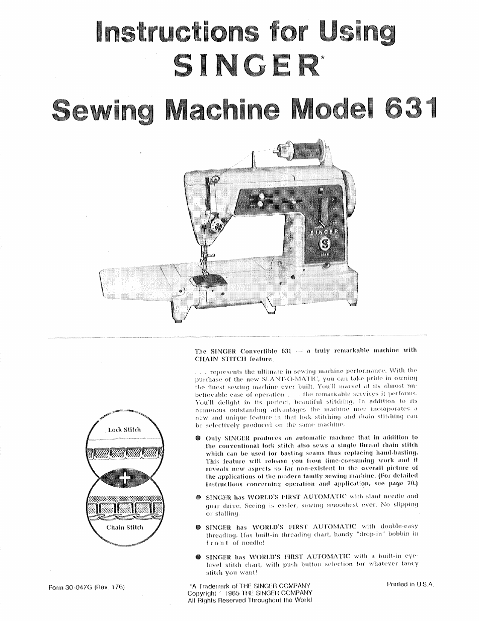SINGER 631 User Manual | 52 pages