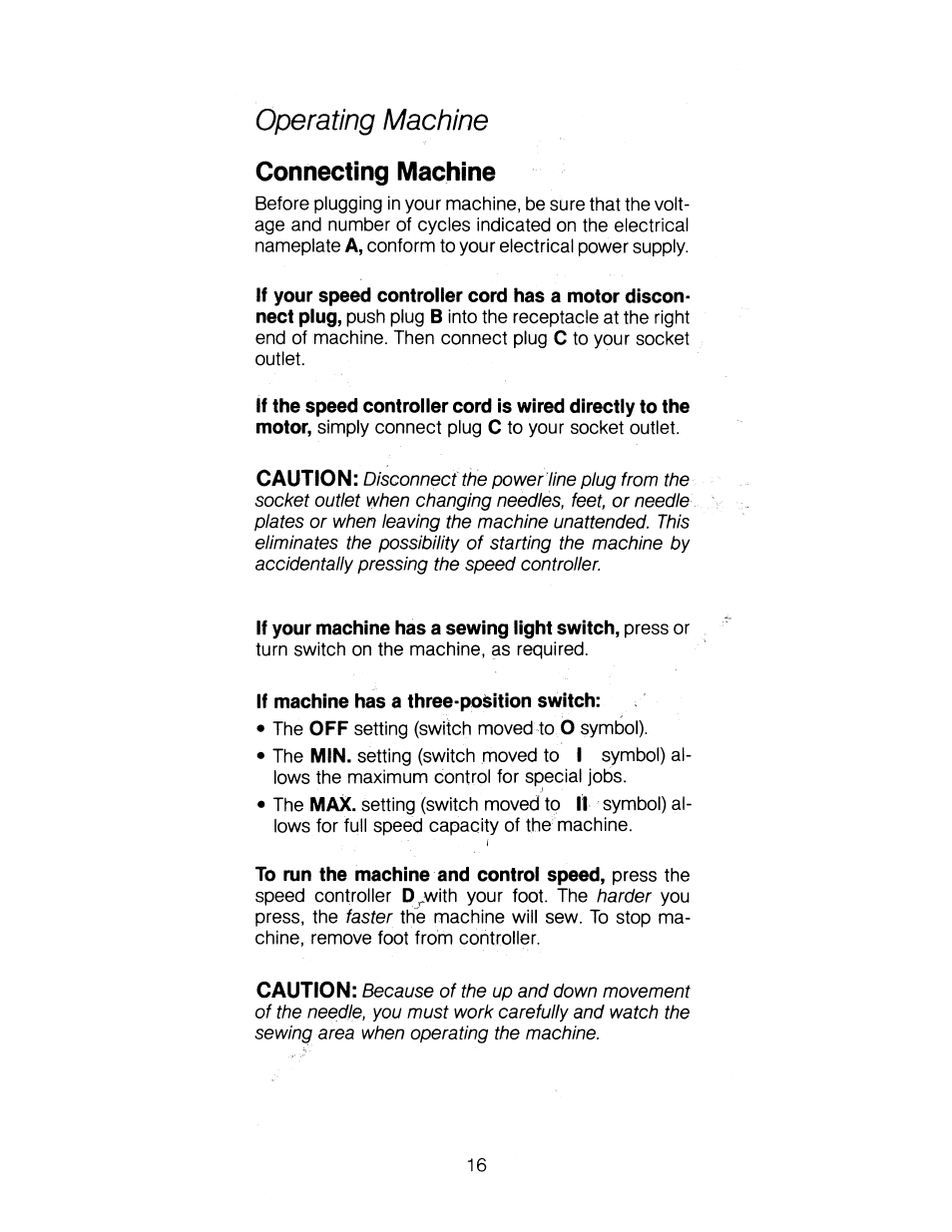 Connecting machine, Operating machine | SINGER 1263 User Manual