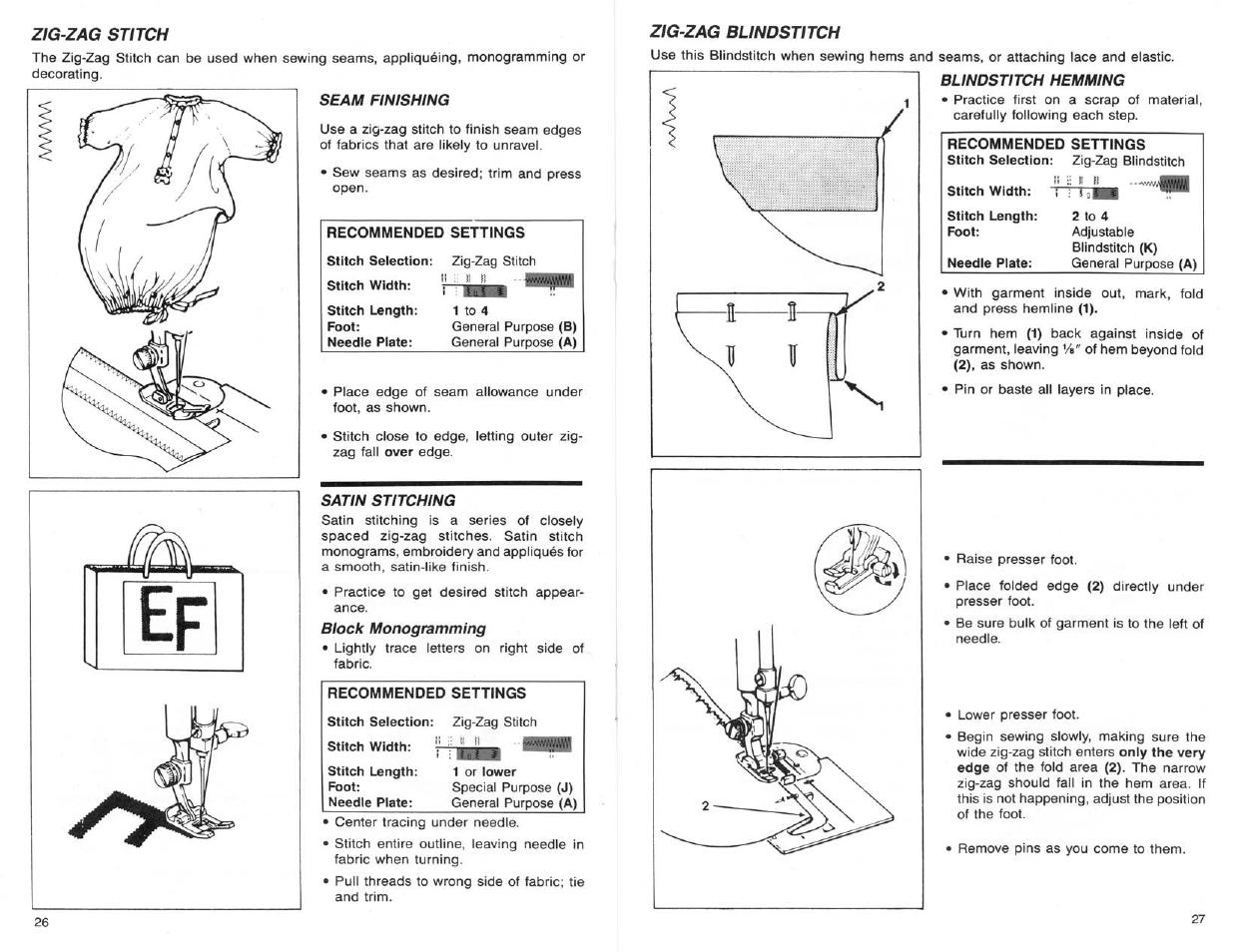 Zig-zag stitch, Seam finishing, Satin stitching | SINGER 9124 User Manual |  Page 15 / 25